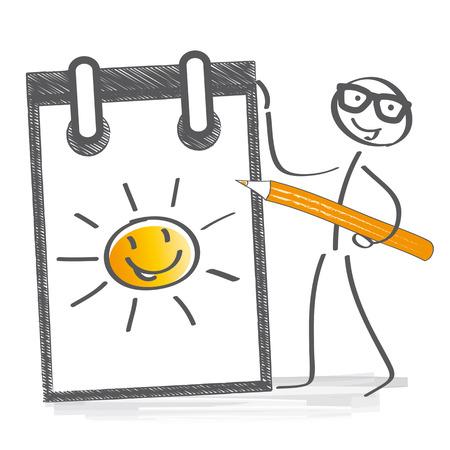 optimistic: optimistic stick figure drawing a sun in a notebook