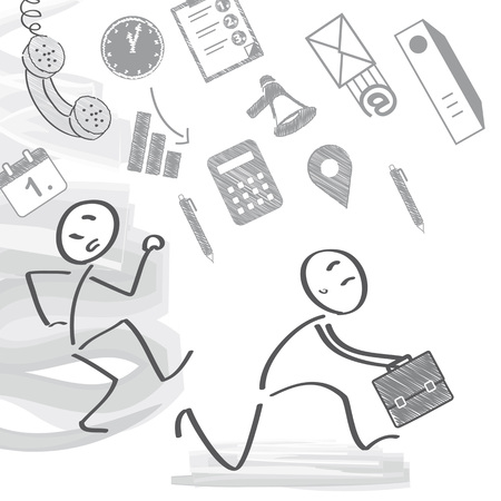 stick out: Vector illustration of two stressed out stick figures