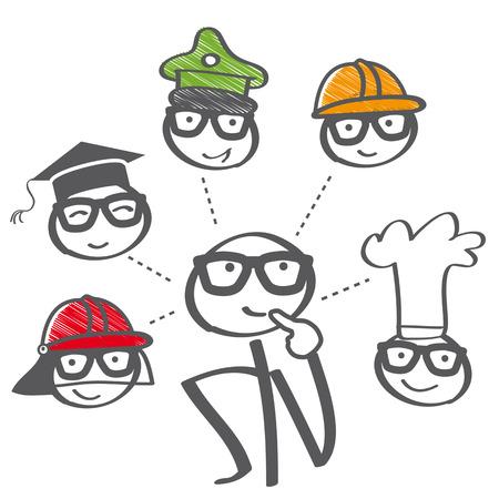 Career choice options – stick figure thinking of future education Ilustração