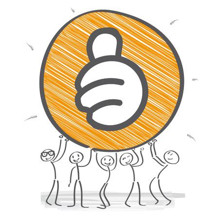 Stick figure team motivated Illustration