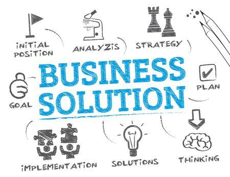 Business Solution. Wykres ze słowami kluczowymi i ikony Ilustracje wektorowe