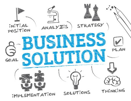 Business Solution. Chart with keywords and icons