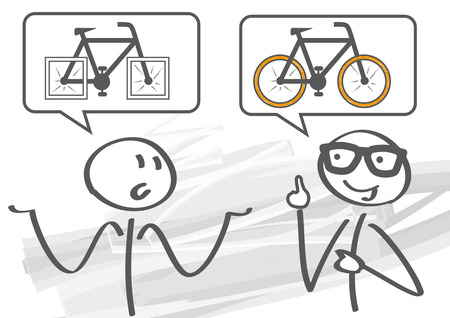 Two stick figures - mentor solves problem Stock Illustratie