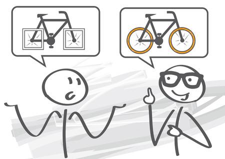 solves: Two stick figures - mentor solves problem Illustration