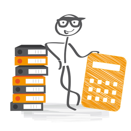 file folders: financial accounting - Stick figure with calculator and file folders
