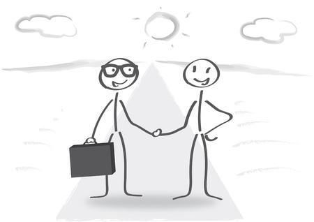 2 つの棒の数字のビジネス握手  イラスト・ベクター素材
