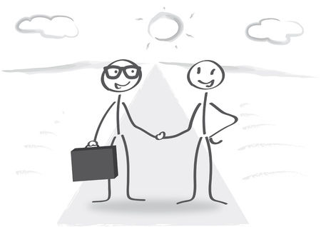 Business handshake of two Stick figures