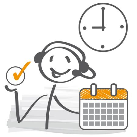 stick figure with headset, calendar and clock