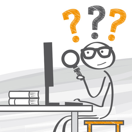 internet search: Stick figure looking through magnifying glass and search the internet Illustration