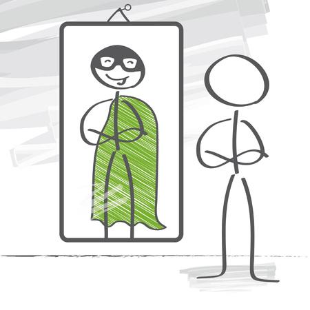 Strichmännchen sieht ein Superheld in der Reflexion