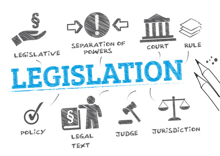 legislation. Chart with keywords and icons Иллюстрация