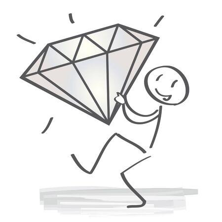 Sick figure with a diamond
