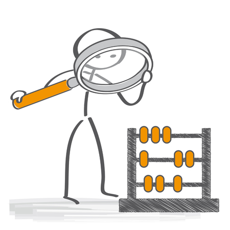 closer: recalculate - take a closer look. Stick Figure with magnifying glass