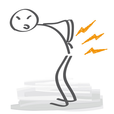 Low back pain - Stick figure has backache Stock Illustratie