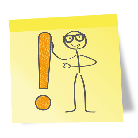 exclamation point: Sticky Note Message. Stick figure with exclamation point