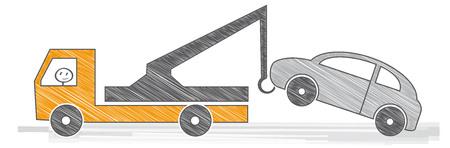 Car towing truck. Vector illustration Illustration