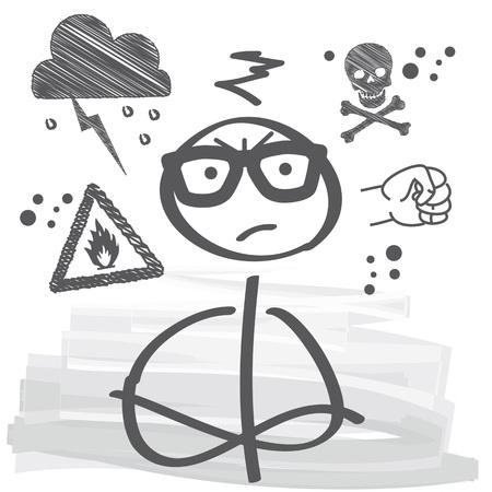 bad temper: Closeup portrait of angry Stick figure