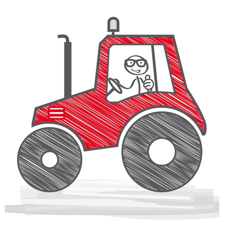 happy Farmer in a red tractor. Vector Illustration