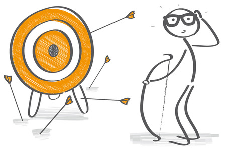 Strzałki przegapić swój cel - Archer jest sfrustrowany Ilustracje wektorowe