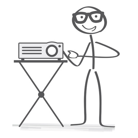 Stick figure switching on a projector for slides or digital images for a presentation