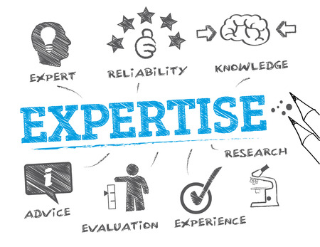 Expertise. Chart with keyword and icons - Vector Illustration