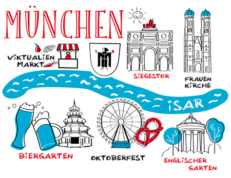 blue roof: Munich - the towns landmark - vector illustration