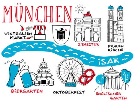Munich - the town's landmark - vector illustration