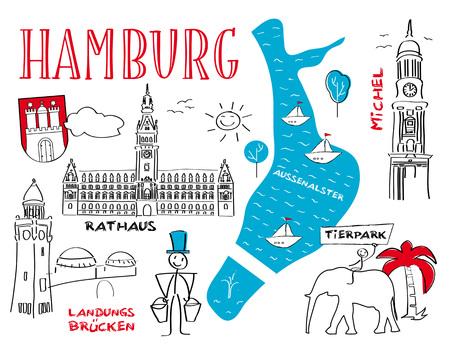 Hambourg les Les monuments de la ville - illustration vectorielle