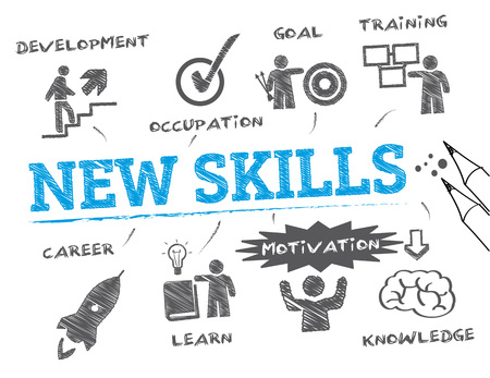 New skills Chart with keyword and icons - Vector Illustration Vectores