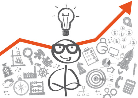 business graphics: Stick figure and business plan on wall Illustration
