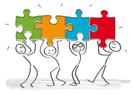 at work: work together – stick figures with puzzle pieces