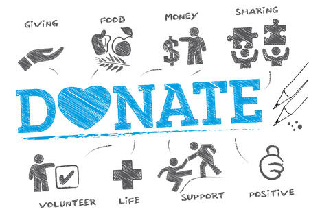 wealthy: Donating. Chart with keywords and icons