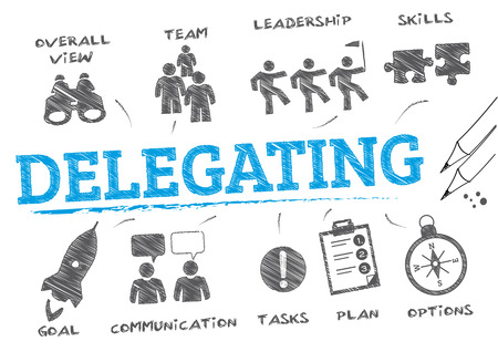 delegating. Chart with keywords and icons 일러스트