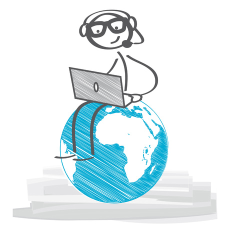 Stick figure with headset an laptop Ilustração