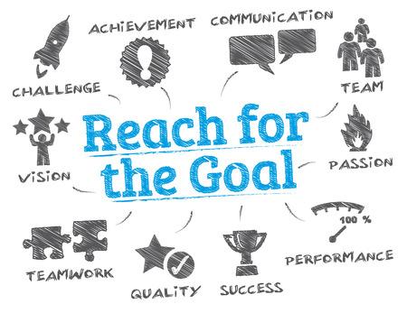 bereiken voor het doel. Grafiek met zoekwoorden en pictogrammen Stock Illustratie