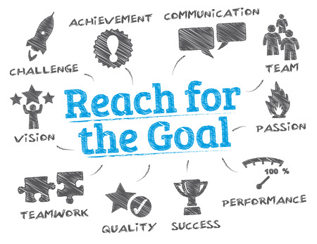 reach for the goal. Chart with keywords and icons Çizim