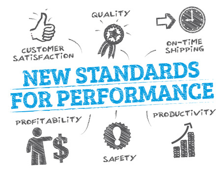 norm: New Standards. Chart with keywords and icons