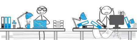 Deux différentes façons de travailler - illustration vectorielle