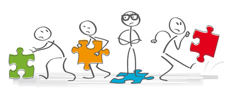 disagreeing: team having an argument - vector illustration