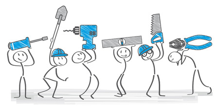 building lot: cheerful builders holding tools - vector illustration
