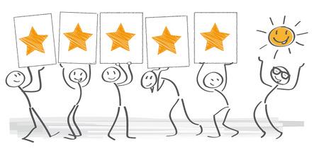 顧客満足度の棒の数字とベクトル図