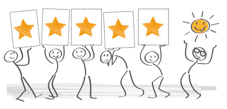 satisfaction: customer satisfaction - vector illustration with stick figures