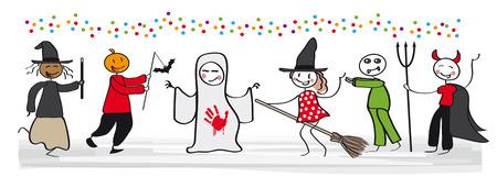 Happy kids on Halloween party - vector illustration Illustration