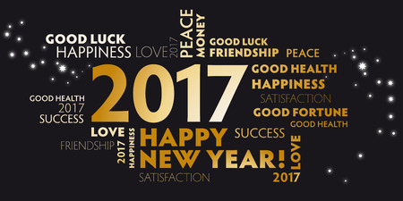 black and golden postcard happy new year 2017
