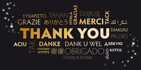 polyglot: black and golden postcard thank you - vector illustration