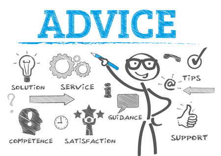 Stok cijfer tekening Advice begrip
