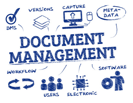 meta data: Document management. Chart with keywords and icons
