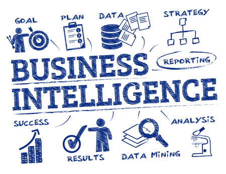Business intelligence. Chart with keywords and icons