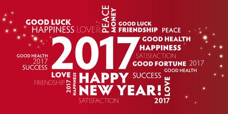 Capodanno - cartolina rossa felice anno nuovo 2017 Vettoriali