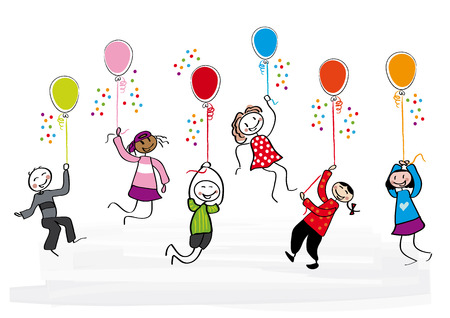 many children fly with ballons Illustration